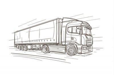 Europäische LKW-Hand gezeichnete Illustration. Vektor.