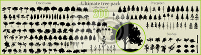 Sticker Even More Ultimate Tree collection, 200 detailed, different tree vectors