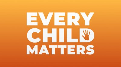 Sticker every child matters, national day of truth and reconciliation modern creative banner, design concept, social media post with white text on an orange background