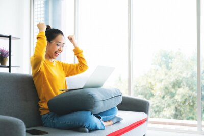 Sticker Excited female feeling euphoric celebrating online win success achievement result, young asian woman happy about good email news, motivated by great offer or new opportunity
