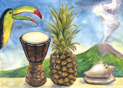 Sticker Exotische Stillleben. Aquarellmalerei. Ananas, Trommel, Toucan, Muschel, Vulkan