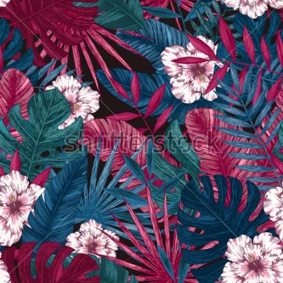 Sticker Exotisches nahtloses Muster der Blätter und der Blumen. Tropischer Blumenhintergrund. Vektor-illustration