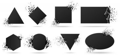 Sticker Exploded frame with spray particles. Explosion destruction, shattered geometric shapes and destruction energy vector banners set. Black objects with broken borders isolated abstract design elements
