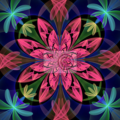 Fabulous symmetrical pattern of the petals. Purple, blue and gre
