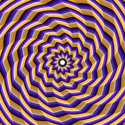 Sticker Facettierte Spirale Verdrehen zur Mitte. Abstract vector optische Täuschung Hintergrund.
