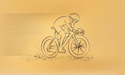 Sticker Fahrradrennen. Vector retro Zeichnung Illustration.