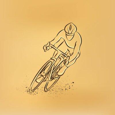 Sticker Fahrradrennen. Vorderansicht. Vector retro Zeichnung Illustration.