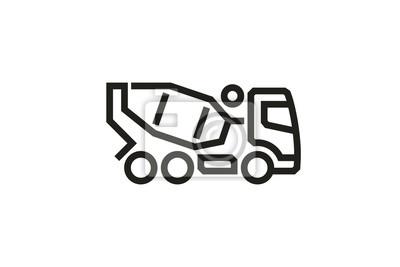 Fahrzeug Icons: Betonmischer LKW.