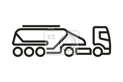 Fahrzeug Icons: European Truck Beton Tank Trailer. Vektor.