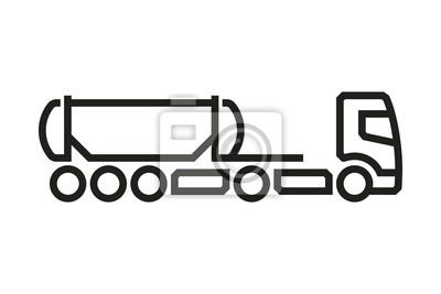 Fahrzeug Icons: European Truck Cistern Auflieger. Vektor.