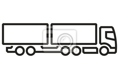 Fahrzeug Icons: European Truck Tandem. Vektor.