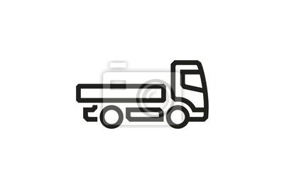 Fahrzeug-Ikonen: Europäischer Lieferwagen. Vektor.