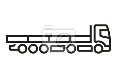 Fahrzeug-Ikonen: Europäischer LKW-Auflieger (3). Vektor.
