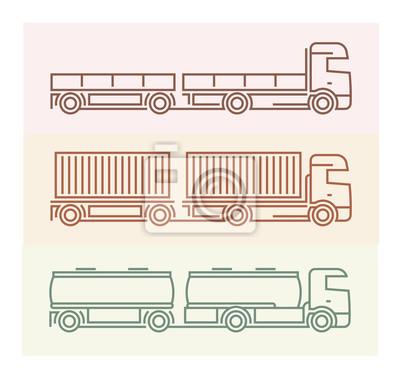 Fahrzeug Piktogramme: Europäische Lkw - Tandems Set 1