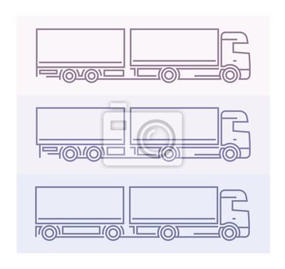 Fahrzeug Piktogramme: Europäische LKW - Tandems Set 2