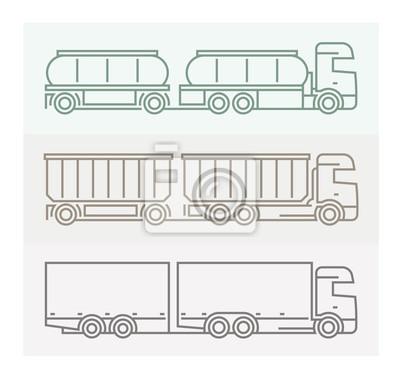 Fahrzeug Piktogramme: Europäische Lkw - Tandems Set 4