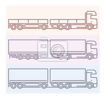 Fahrzeug Piktogramme: Europäische LKW - Tandems Set 5