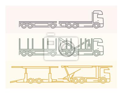 Fahrzeug Piktogramme: Europäische Lkw - Tandems Set 6