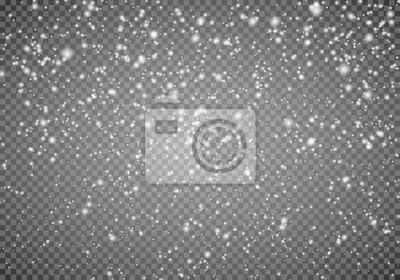 Sticker Fallender Schnee auf einem transparenten Hintergrund. Zusammenfassung Schneeflocke Hintergrund. Schneefall. Vektorillustrator 10 ENV.