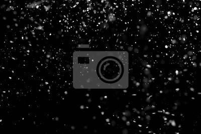 Sticker Fallender Schnee unten auf dem schwarzen Hintergrund.