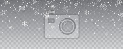 Sticker Fallender Weihnachtsdekoration der Schneeflocken lokalisierter Hintergrund. Weißes Schneefliegen auf transparentem