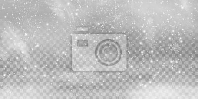 Sticker Fallendes Weihnachtsglänzendes transparentes schönes, kleiner Schnee lokalisiert auf transparentem Hintergrund. Schneeflocken, Schneehintergrund. starker Schneefall, Schneeflocken in verschiedenen For