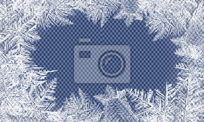Sticker Falling Christmas snow. Snowflakes isolated on transparent background. Vector Patterns Made by the Frost. Blue Winter Background for Christmas Designs.