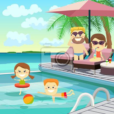 Familienwochenende. Familie in den Urlaub rund um den Pool