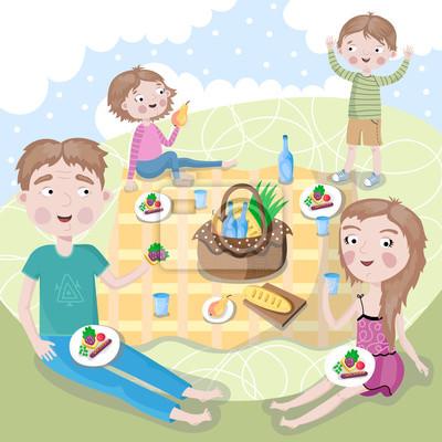 Familienwochenende. Glückliches Familienpicknick.