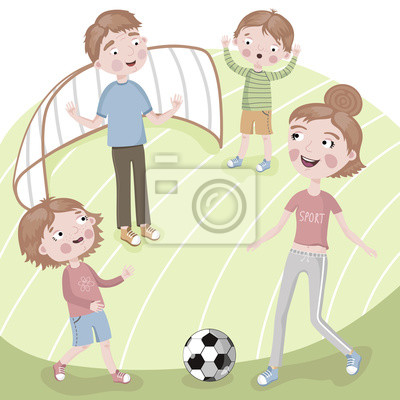 Family on vacation playing football.