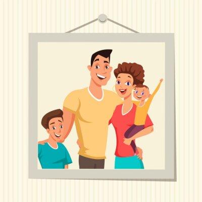 Family photo in frame flat vector illustration
