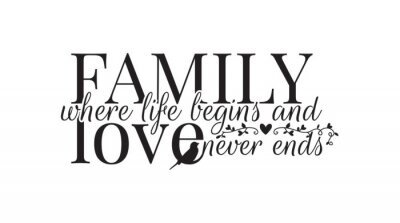 Family where life begins, and love never ends, Wall Decals, Wording Design, Art Decor, isolated on white background