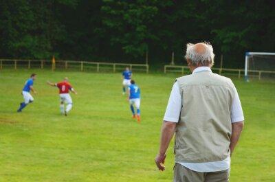 Fan stehend und Blick auf lokale Fußballspiel