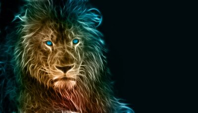Sticker Fantasie-Digital-Kunst eines Löwen