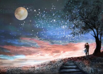Sticker Fantasy Illustration mit Nachthimmel und MilkyWay, Sterne Mond. Frau und Mann unter einem Baum Blick auf die Raumlandschaft. Blumenwiese und Treppen. Malerei.
