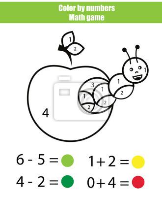 Farbe nach zahlen. mathematik spiel. malvorlage mit raupe notebook ...