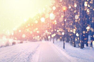 Sticker Farbe Schneeflocken auf Winter Park Hintergrund. Schneefall im Park.
