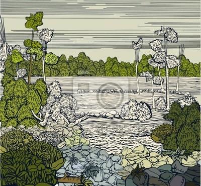 Farbe voll Vektor Hand gezeichnet Landschaft