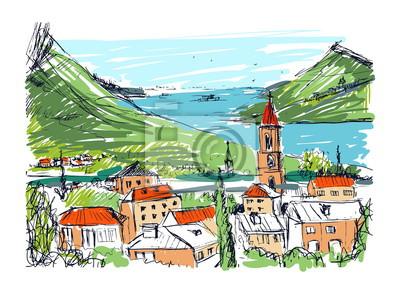 Farbige Hand gezeichnet Landschaft mit alten georgischen Stadt, Berge und Hafen. Schöne bunte Freihand-Skizze mit Gebäuden und Straßen der kleinen Stadt in der Nähe von Meer und Hügeln. Vektor-Illustr