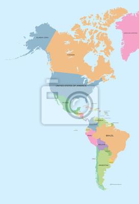 Farbige politische Karte der Nord-und Südamerika