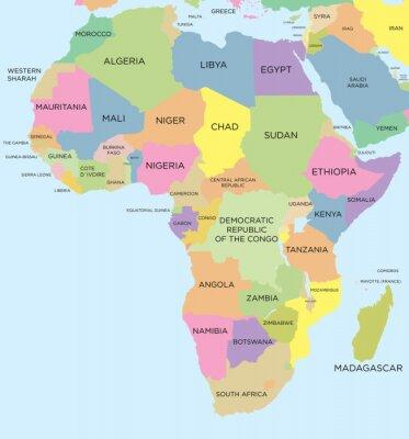 Farbige politische Karte von Afrika