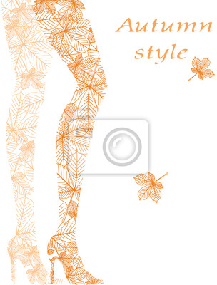 Fashion Frau, die Beine von den Herbstblättern