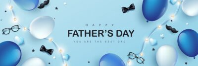 Sticker Father's Day card with holiday decorate on blue background