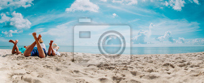 Sticker father with son and daughter relax on beach vacation, panorama