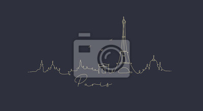 Federlinie Silhouette Paris dunkelblau