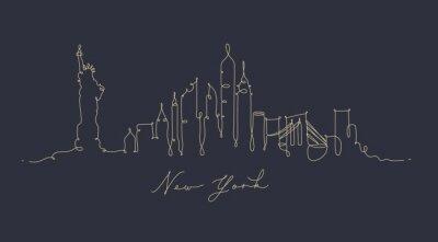 Federlinienschattenbild New York dunkelblau