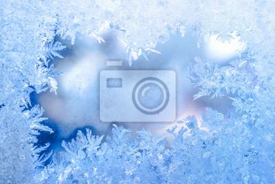 Sticker Fee Winter Eis, blaue Textur auf Fenster, Urlaub Hintergrund, close up