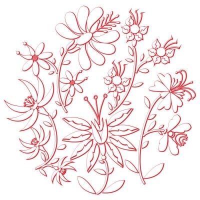 Sticker Feier Tag Folk und Stickerei Ausschnitt von osteuropäischen Kultur runden Form in weiß mit floralen Elementen mit rotem Strich mit 3D-Effekt inspiriert