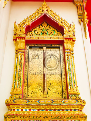 Fenster der Kirche in einem Tempel Thailand
