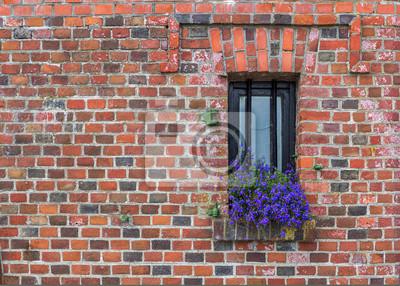 Fenster mit Blumen auf alten Mauer